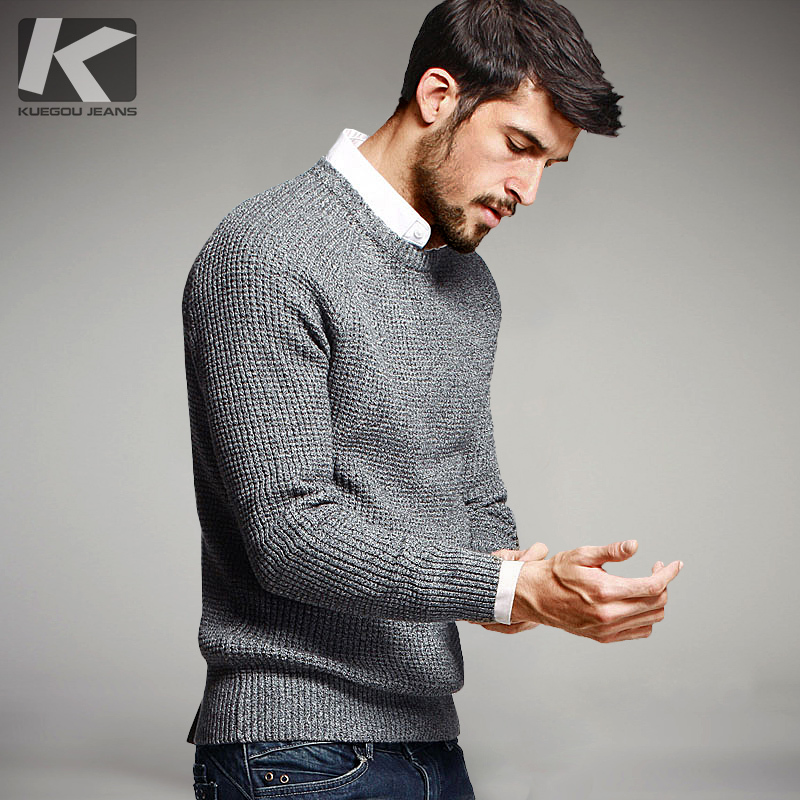 KUEGOU Autumn Men Sweaters 100% Мақта Түсі Knitted Бренд Киім Man's Knitwear Pullovers Knitting Plus Size Tops 14012