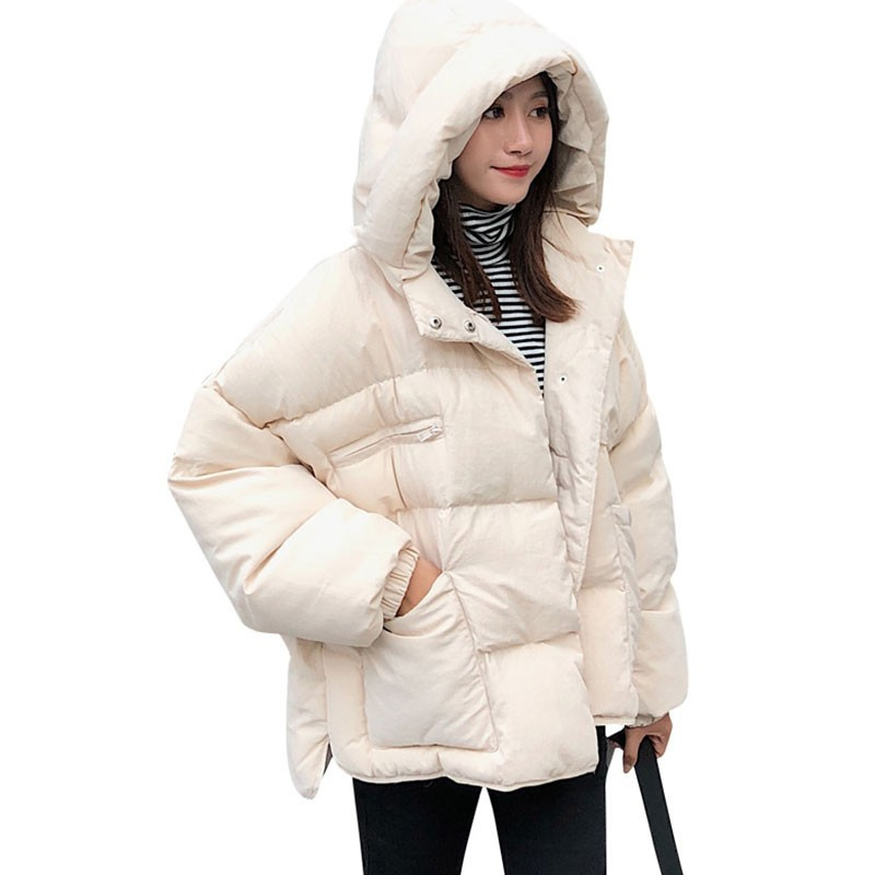 2018 New Short Thick Bread Clothes Casual Winter Jacket Cotton Coat Women Autumn White Loose Padded Parka Free Shipping HJ19 in Parkas from Women 39 s Clothing