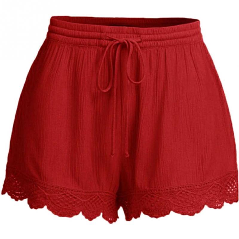 Casual 2019 Women   Shorts   Lace Hem Exercise Elastic Waist Drawstring Solid 2XL-5XL black, wine red, lake blue #20