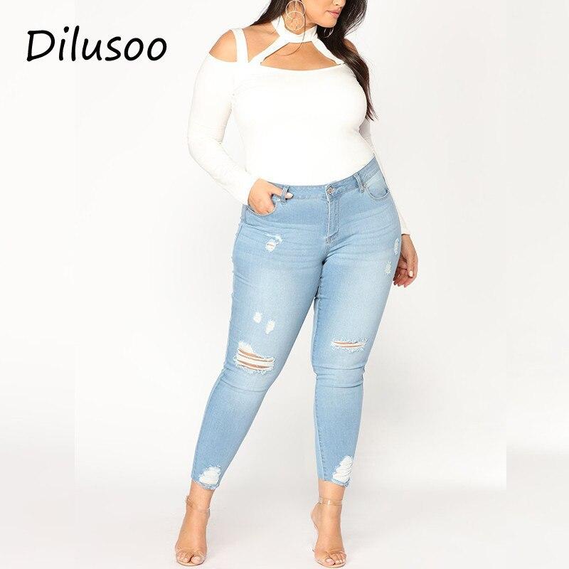 Dilusoo Women Elastic Jeans Pants Plus Size Europe Holes Pencil Pants High Waist Skinny Jeans Women's Casual 4 Season Trousers