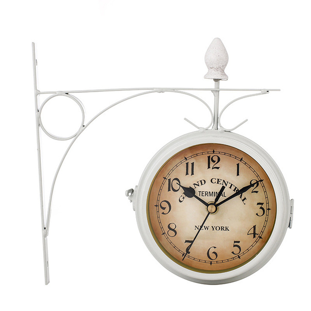 Vintage Hanging Wall Clock Decor Double Sided Metal Stylish Station Watch Design Home Room Decoration White Black