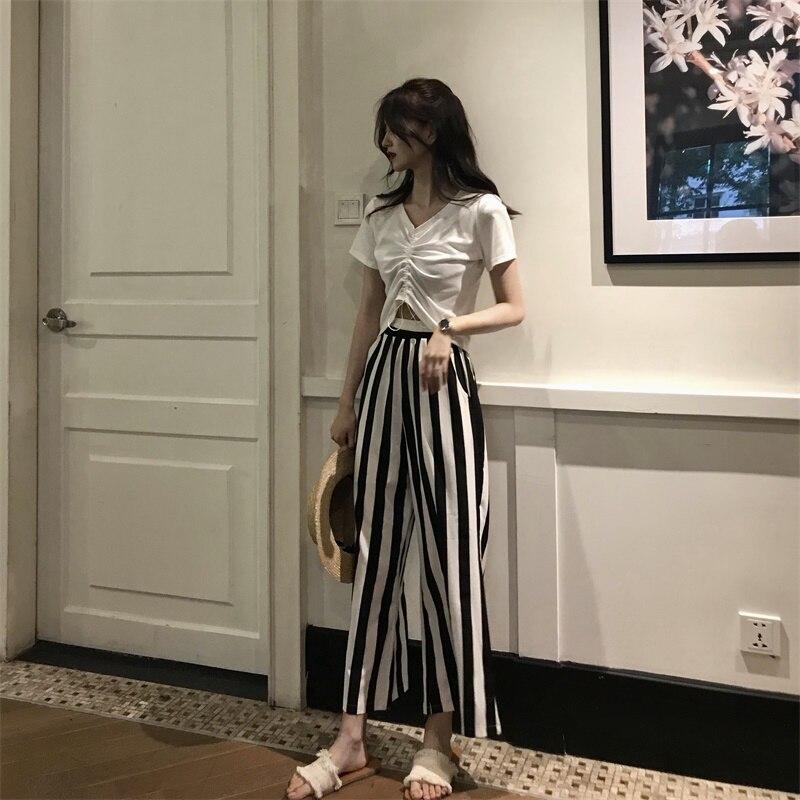 Jambes À Mince Bind Larges Édition shirt Manteau Bande Nombril Tirage De La Mode T Chaîne Spectacle Han Pantalon tw0EBqq