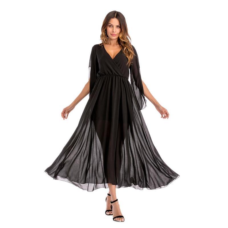 2019 летнее женское сексуальное шифоновое платье-туника с v-образным вырезом и длинным рукавом, однотонное вечернее платье, новое модное стил...