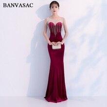 BANVASAC Elegant Crystal Tassel O Neck 2019 Velour Mermaid Long Evening Dresses Party Illusion Zipper Back Prom Gowns