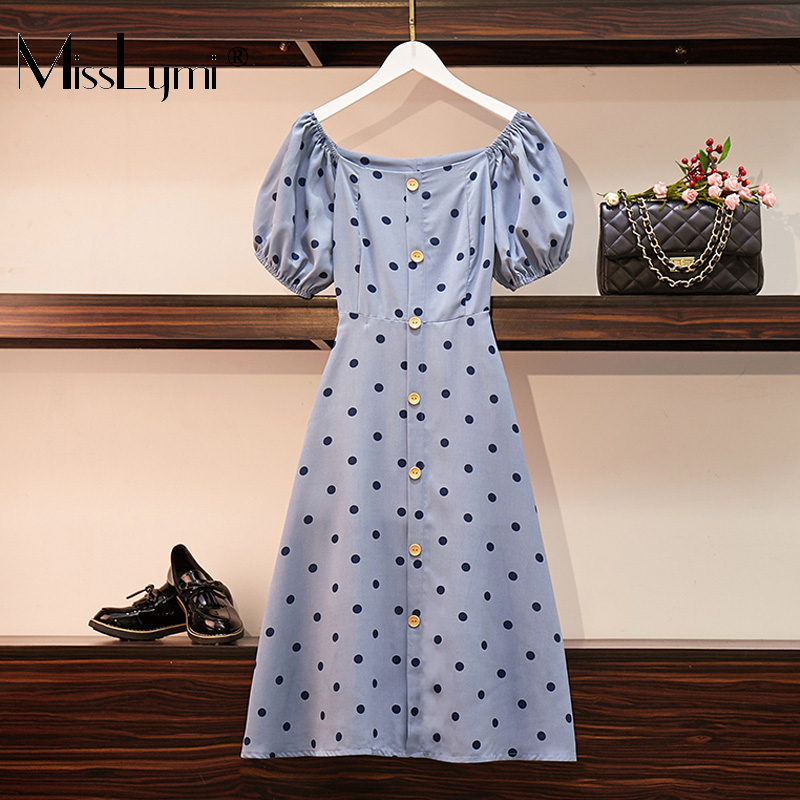 8bf5df509b XL-5XL Mulheres Plus Size Polka Dot Do Vintage Vestido de Verão 2019 Sexy  Gola Quadrada de Manga Curta Túnica A-Line Vestidos Midi