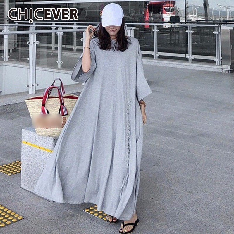 CHICEVER Dresses For Women O neck Three Quarter Sleeve Loose Oversize Hem Pleated Lace Up Summer