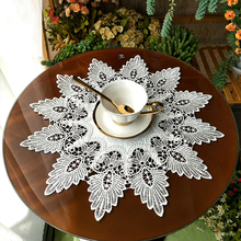 Beige 45cm Garden Fabric European Round Tablecloth Water Soluble Fine Lace Coffee Vintage Table Cover Cloth Mat Tapete Decor