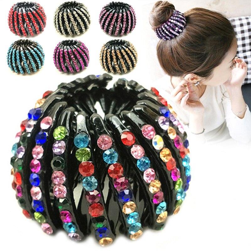 Hot Sale Children Girls Bird's Nest Hair Claw Kids Curler Roller Headwear Crystal Ponytail Holder Hair Clips