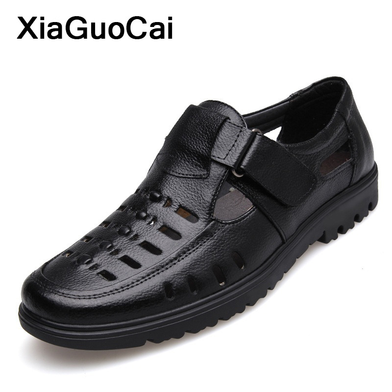 2020 Men Shoes Summer Genuine Leather Man Casual Shoes Hook & Loop Breathable Middle-aged Footwear Hollow Male Sandals Plus Size