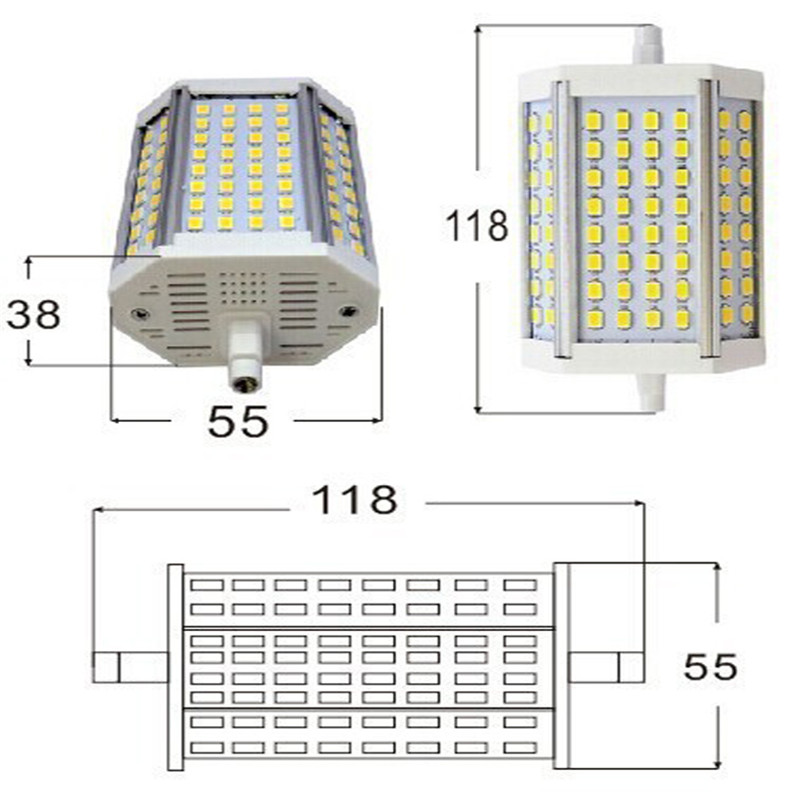 CLAITE <font><b>R7S</b></font> <font><b>30W</b></font> 3000LM High Power 118mm 64 SMD5730 Warm White/White <font><b>LED</b></font> Light Bulb 85-265V Entertainment Lighting image