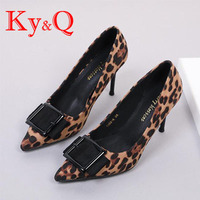 2019 new high heel leopard print shoes for dinner ladies with office ladies pointed shoes sexy classic