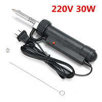 30W 220V Electric Vacuum Solder Sucker with Power Cord /Desoldering Pump /Tool Repair Black Welding Soldering Supplies