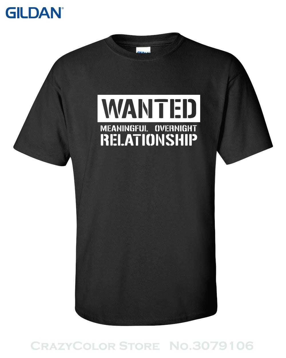 100% Cotton Print Mens Summer O-neck Wanted Meaningful Overnight Relationship Sex Sexual Offensive Men's Tshirt 310