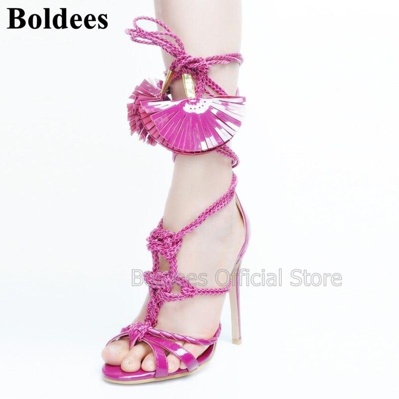 Designer européen mode gland en cuir verni mince à talons hauts sandales femmes Rose été violet robe de soirée chaussures