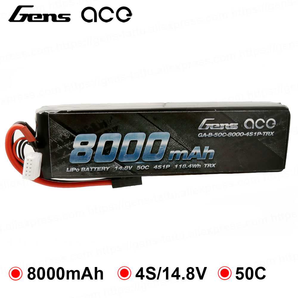 Gens ace 8000mAh Lipo 4S Hardcase Battery 50C Power for Traxxas E maxx 1/8 1/10 Car Buggy Truggy