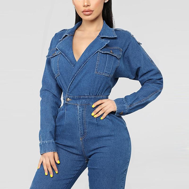 Elegant Long Sleeves Women Jumpsuit Jeans Long Pants Bandage Bodysuit Transparent Deep V Neck Casual Denim Woman Overalls Cheap