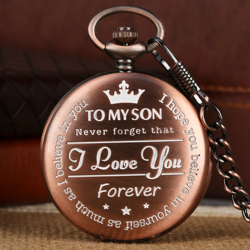 Top Luxury Rose Gold To My Son Engraved Quartz Pocket Watch Chain Creative I LOVE YOU Birthday Gifts For Men Son As Collectibles