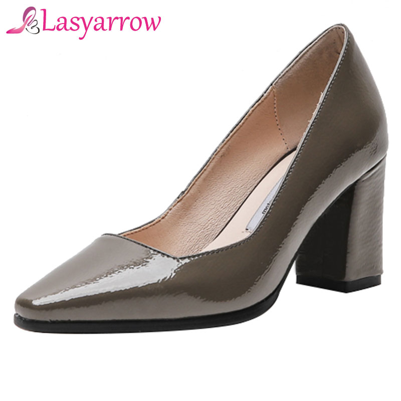 83046ead Café Lasyarrow Negro Femenino Tacón Fiesta Mujeres Bombas Moda Zapato  Sapato Cuadrada Genuino Cabeza 43 Alto Or7w6OCq