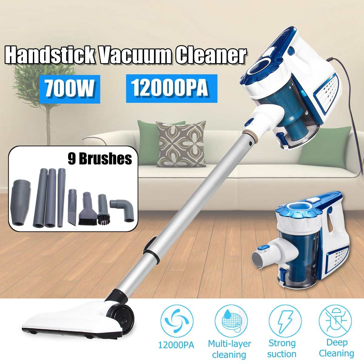 12000PA Suction 700W Baggless Vacuum Cleaner Handheld Cordless Upright Vacuum Cleaner with 9pcs Brushes Cleaner Cleaning Tool12000PA Suction 700W Baggless Vacuum Cleaner Handheld Cordless Upright Vacuum Cleaner with 9pcs Brushes Cleaner Cleaning Tool