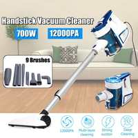 12000PA Suction 700W Baggless Vacuum Cleaner Handheld Cordless Upright Vacuum Cleaner with 9pcs Brushes Cleaner Cleaning Tool