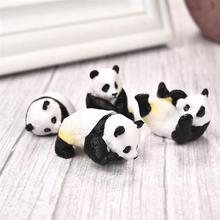 4pcs set Cute Panda Moss Micro Landscape Terrarium Figurine Decoration Resin Funny Panda Babies Ornament Fairy Garden Miniature cheap Horizon Animal Artificial as the picture PVC Ornaments Doll house Home desktop decoration