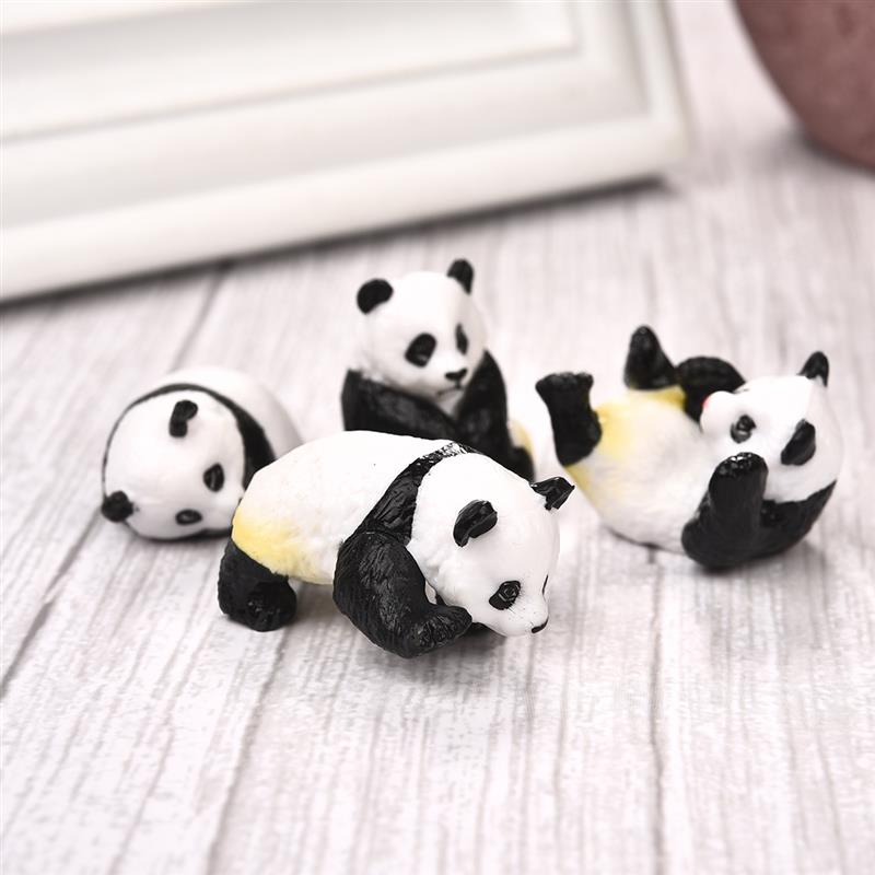 4pcs/set Cute Panda Moss Micro Landscape Terrarium Figurine Decoration Resin Funny Babies Ornament Fairy Garden Miniature