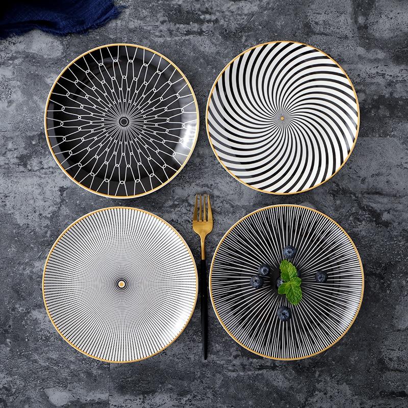 Vaisselle en céramique assiette à Dessert   Vaisselle à géométrie de Phnom Penh 6 pièces 8 /10 pouces, assiette à dîner en porcelaine, assiette à gâteau - 3