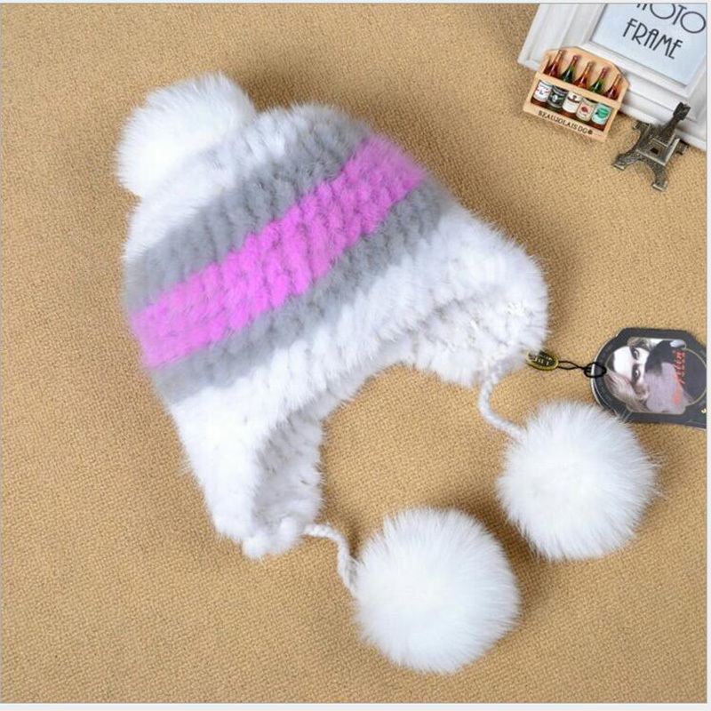 Fashion Children Mink Fur Knitted Hat Winter Warm Fur Hat with Fox Fur PomPoms Handmade Knitted Kids Beanies Patchwork Hat MH46