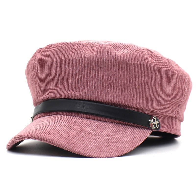 2018 Autumn Winter New Hot Fashion Women Casual Simple Vintage Warm Berets Female Corduroy Solid Color Military Caps