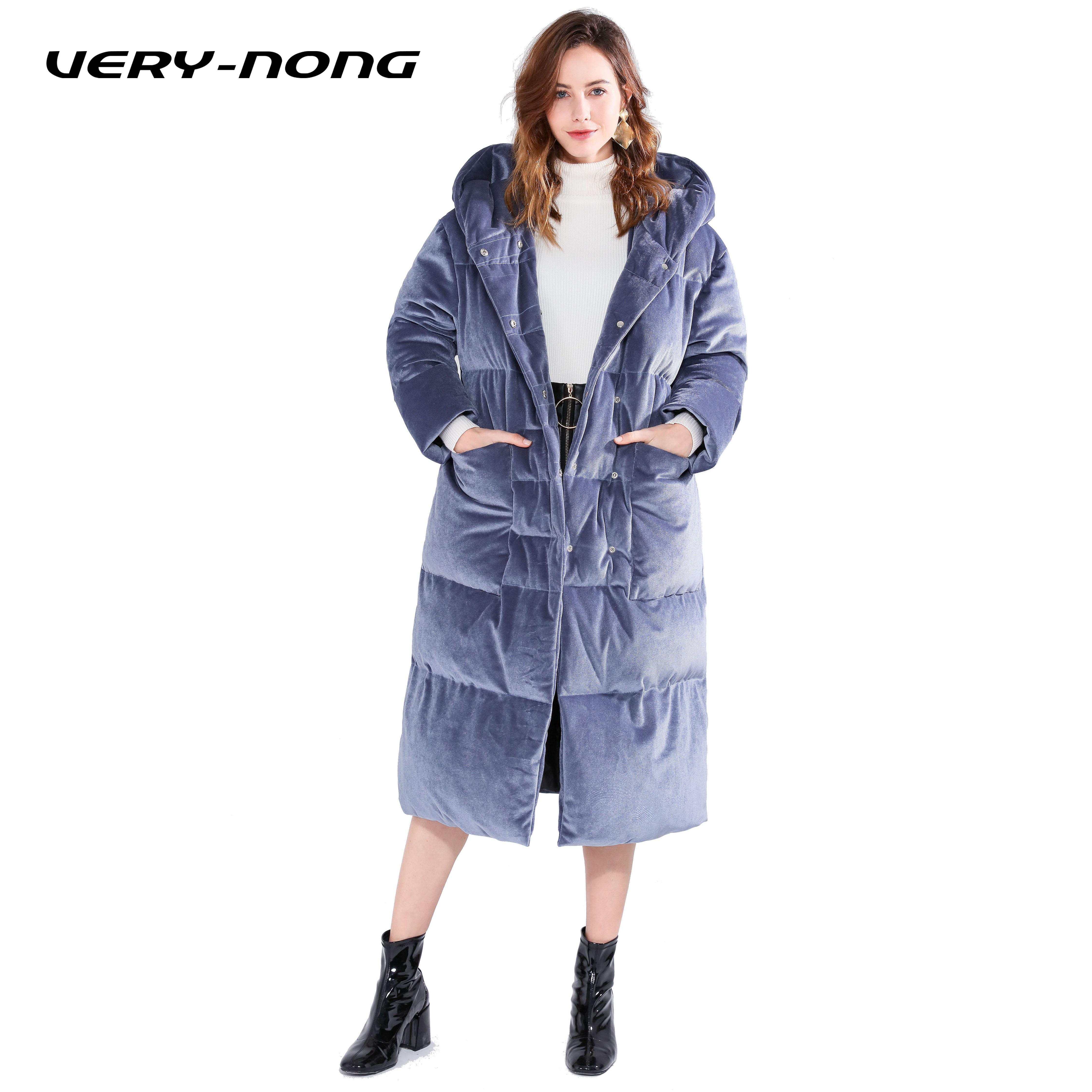 Capuche Doudoune Bleu D'hiver Dames Longue Couleur Veste Velours Épaisse À Unie nong Very xWfXw8RqAn