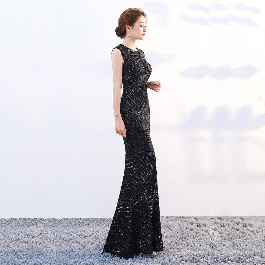 Robe De soirée Longue 2018 O cou sirène paillettes dentelle Longue fête femmes élégante Robe De soirée Simple robes De bal 1587 - 2