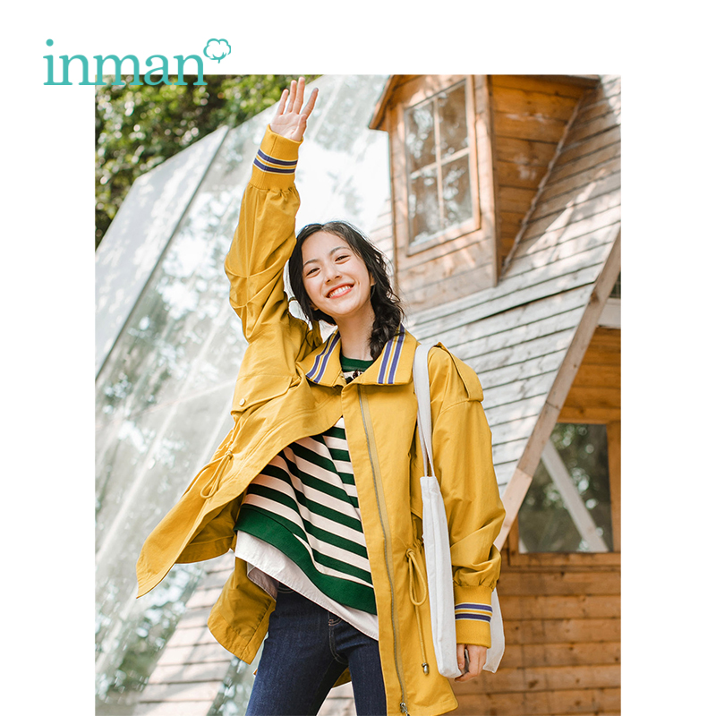 INMAN Spring Autumn Turn Down Collar Defined Waist Slim Loose Korean Fashion Bishop Long Sleeve Women Coat