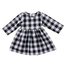 Newborn Baby Girls DressLong Sleeve Princess Plaid Kids Dres