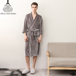 Image 4 - Men Womens Sleep Lounge Robes Gold Velvet  Autumn Nightgrowns Couple Robe Bathrobe Male Female Dressing Gown Lounge Homewear