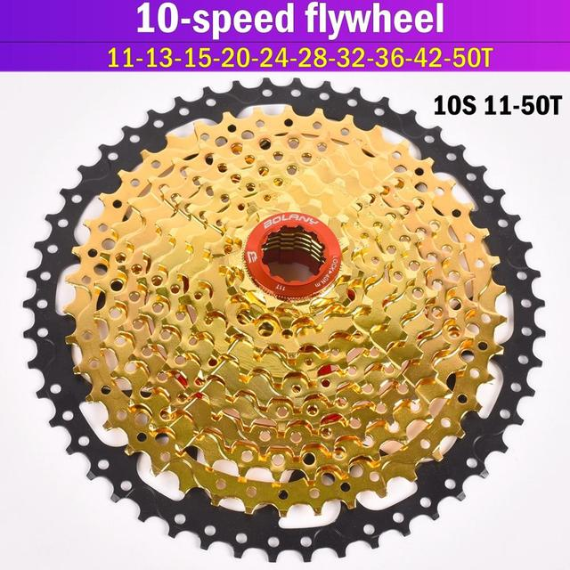 Gold Bolany 10S 30S Speed 11-50T 42T Freewheel Wide Ratio Bike Mountain Bicycle Flywheel Cassete For M7000 M610