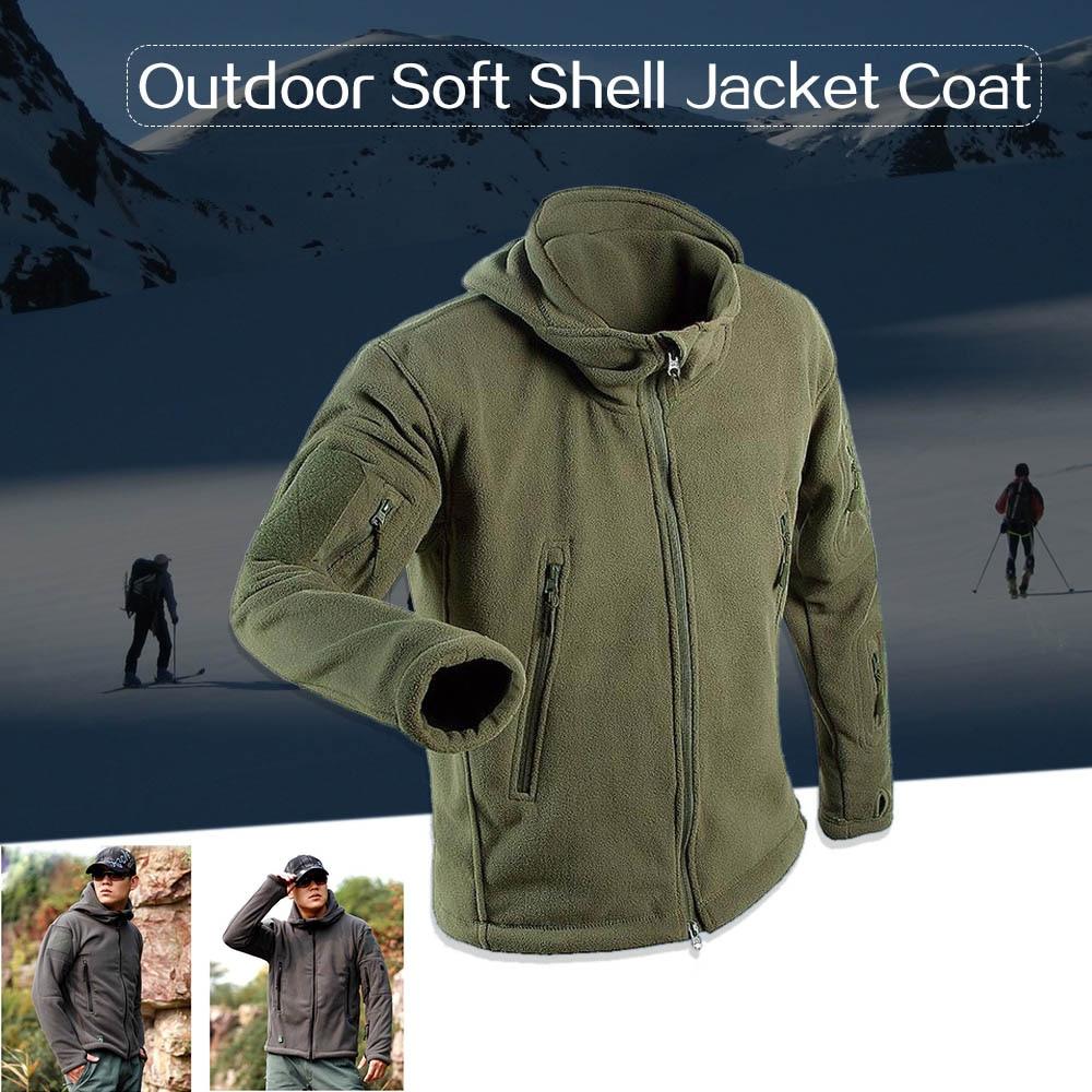 Coat Hooded-Jacket Fleece Outdoor Winter Windproof Camping Warm Liner Softshell Men Cycling