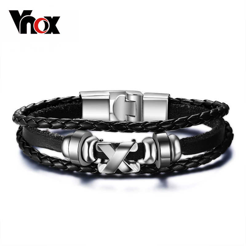 Vnox Promotion men bracelet bangle leather jewelry stainless steel clasp fashion accessories wholesale