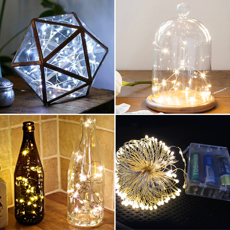 5m/16.4ft LED Copper Light String With 3AA Battery Box Fairy Lights Party Decoration Xmas Lights Wedding Decorative Lighting