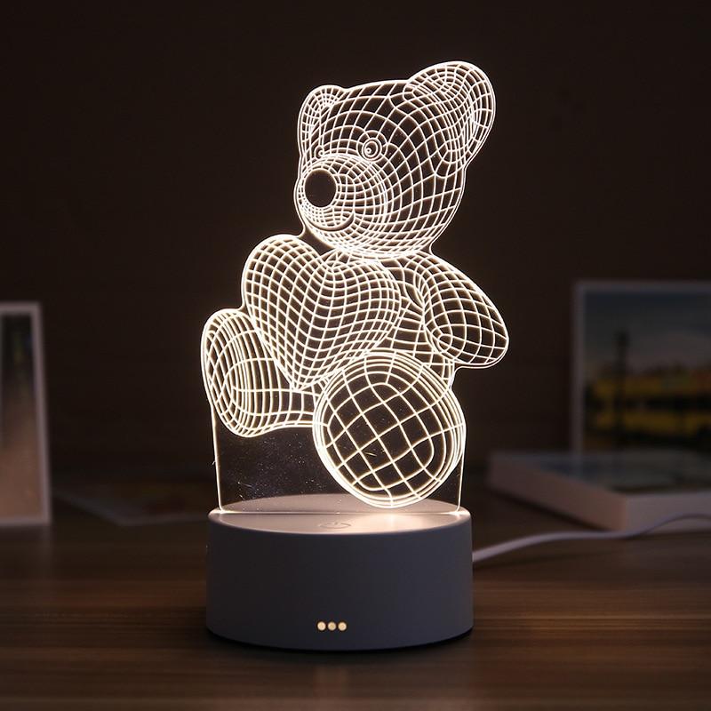 3D เรซิ่น Night Light LED โคมไฟหมีน่ารักรักตารางปราสาท ABS + เรซิ่น - ของขวัญโคมไฟสำหรับห้องนอนเด็ก