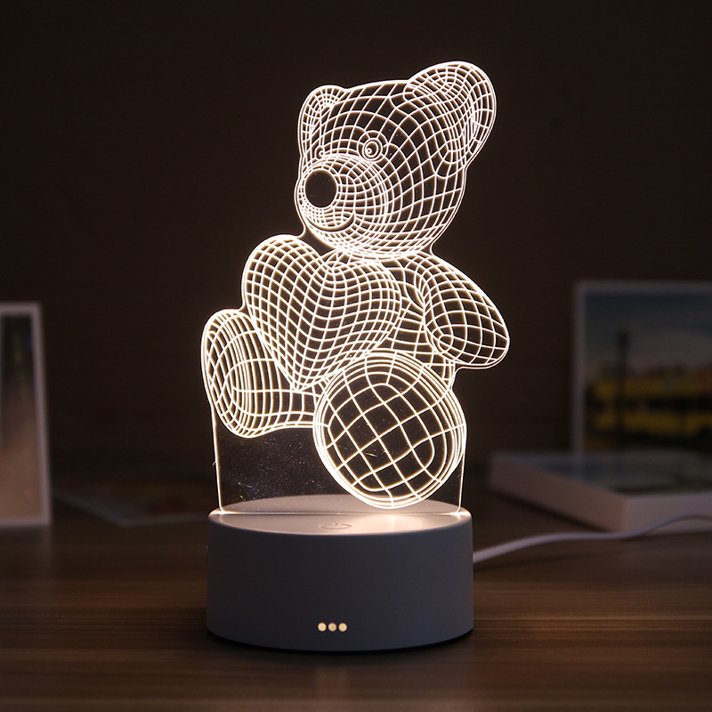 3D Resin Night Light LED Table Lamp Cute Bear LOVE Castle Table Light ABS+Resin Multi-design Gift Lamp For Children Bedroom
