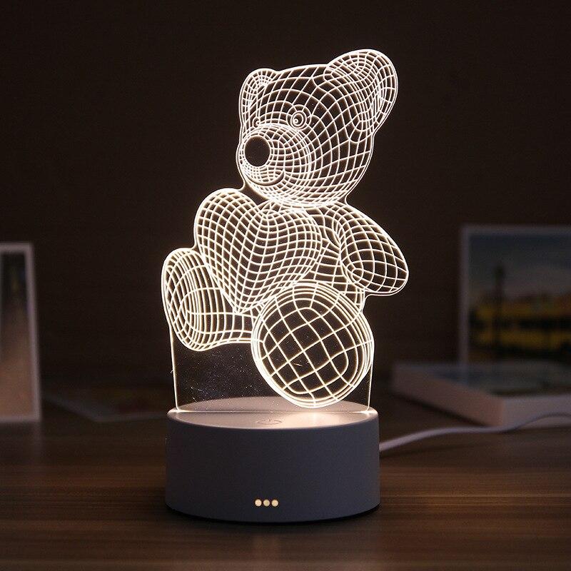 Luz da noite da resina 3d conduziu a lâmpada de mesa bonito urso amor castelo luz da tabela abs + resina multi-design presente lâmpada para o quarto das crianças
