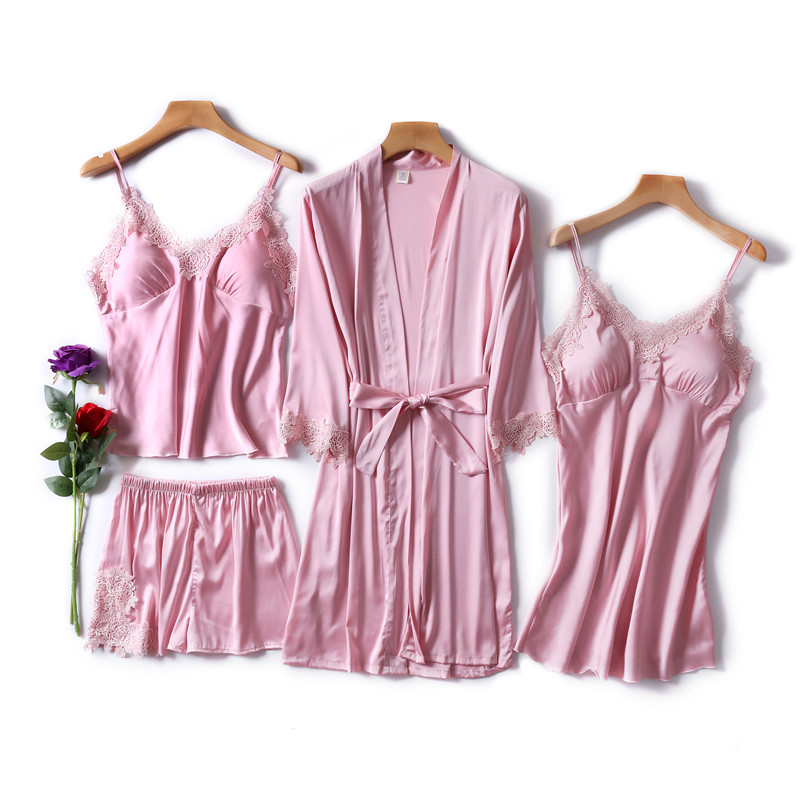 4 Piece Sexy   Pajamas     Set   Women Faux Silk Lace Sling Sleeveless Shirt Shorts Summer Robe Sleepwear with Chest Pads Pyjama   Sets
