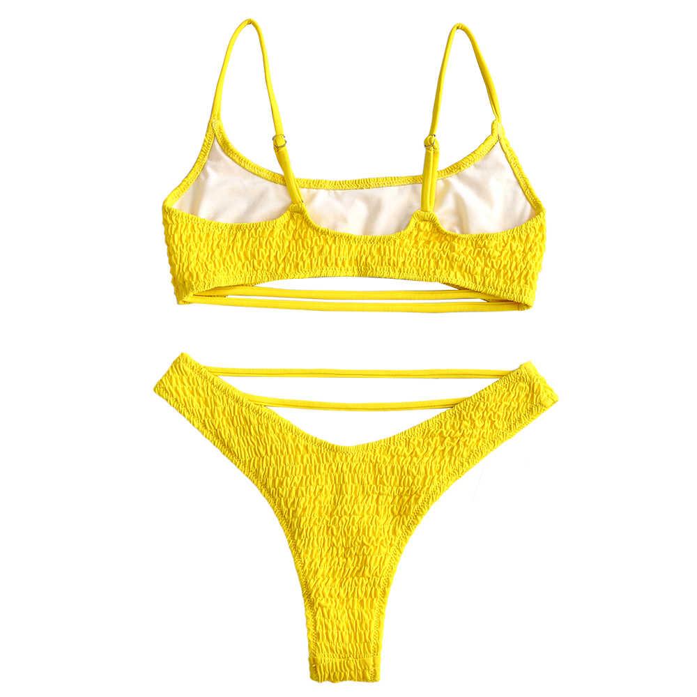 ZAFUL 2019 nowy marszczonej Strappy Bralette Bikini wysokie obcasy marszczone Bikini Spaghetti pasy stroje kąpielowe kobiety strój kąpielowy Sexy Biquini