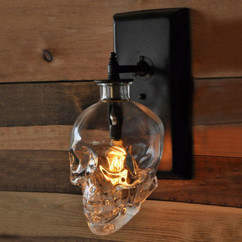 Retro Led Wall Lamp Loft Deco Living Room Sconces Clear Glass Bottle Wall Light Fixtures Dinning Room Bar Industrial Wall Lights