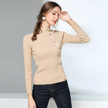 Knitted bottoming sweater female winter new short slim turtleneck thick women solid wild pullover damen 1866