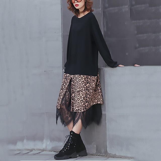 [EAM] 2019 New Spring Winter Round Neck Long Sleeve Black Hem Leopard Lace Large Size Thick Dress Women Fashion Tide JK869 1