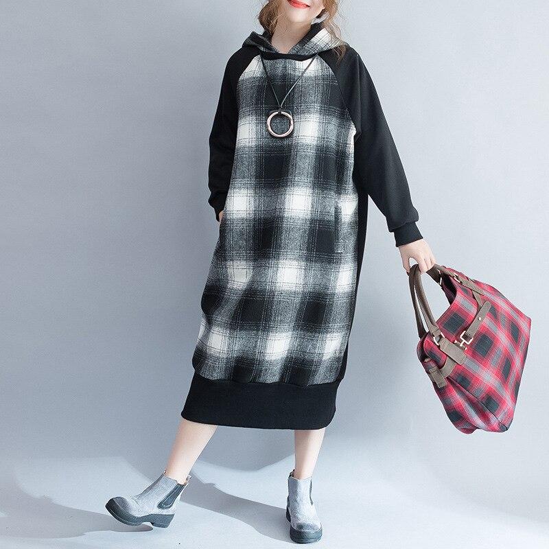 Printemps Capuche Shengpalae Robes Femme À Longues Black 2019 Patchwork Plaid Coréenne Femmes Mode Nouveau Automne Robe Fi242 Manches QrdCtsBhxo