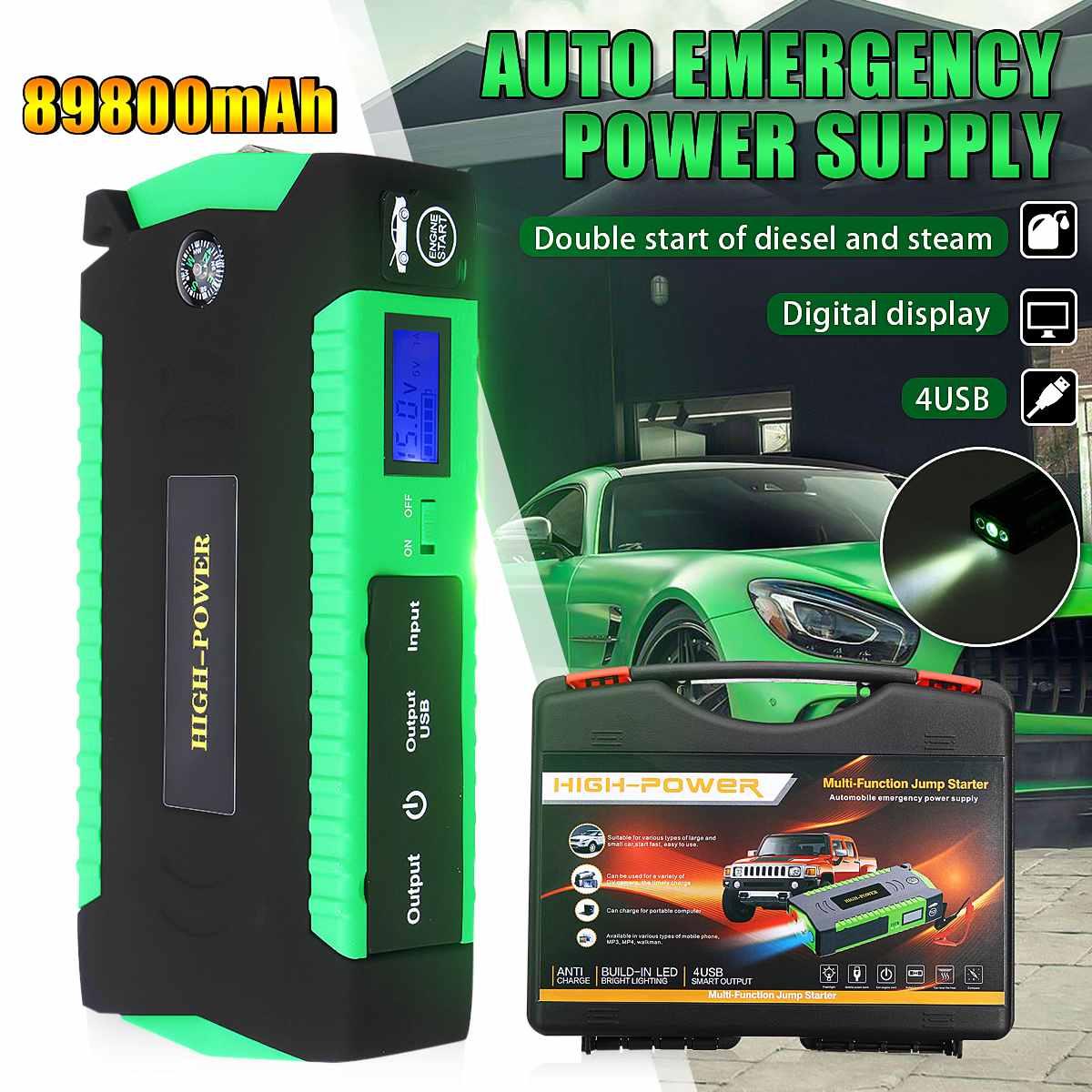 89800 mAh 4USB voiture saut démarreur 12 V 600A Portable voiture batterie Booster chargeur Auto démarrage dispositif essence Diesel batterie externe