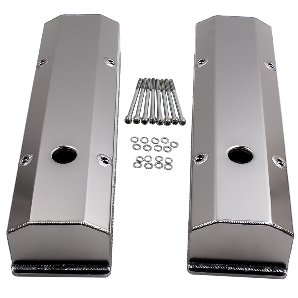 SBC Chevy 283 327 350 400 Polished Fabricated Aluminum Long Bolt Valve Covers