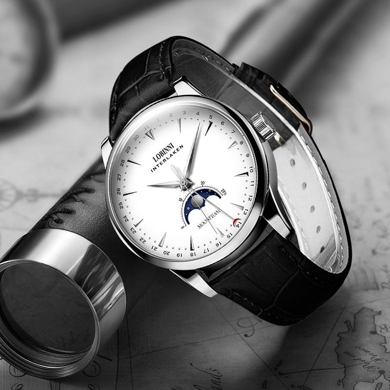 Saatler'ten Mekanik Saatler'de Switzerland LOBINNI Men Watches Luxury Brand Moon Phase Auto Mechanical Men's Clock Sapphire Leather relogio masculino L16012 1'da  Grup 3